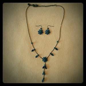 Blue Crystal Necklace and matching earrings